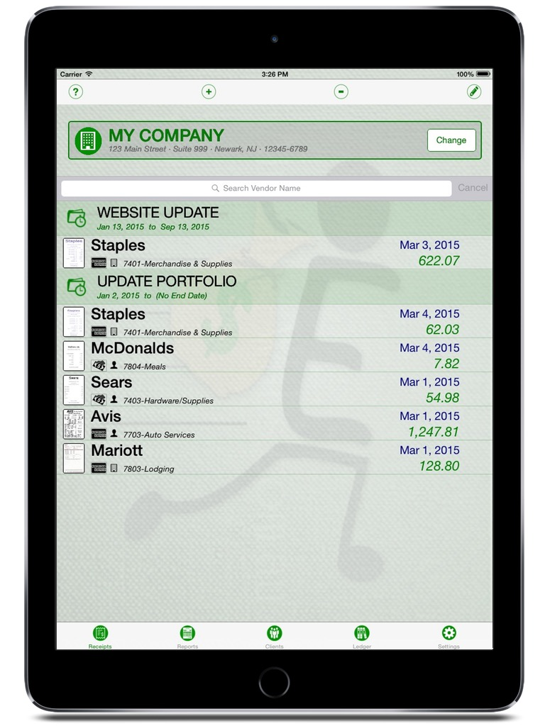 Expense On The Go iPhone & iPad  Screenshot 1